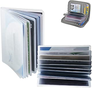 2 Pieces Plastic Wallet Inserts Replacement Transparent Credit Card Sleeve Holder with 10 Page 20 Slots and 10 Page 10 Slots for ID Business Credit Cards Gift Cards