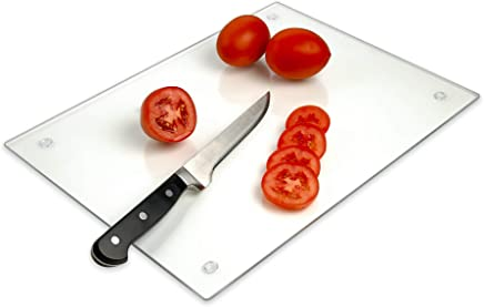 "Tempered Glass Cutting Board - Long Lasting Clear Glass - Scratch Resistant, Heat Resistant, Shatter Resistant, Dishwasher Safe. (Large 12x16"")"