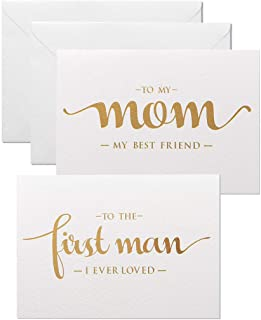 to My Mom, to My First Man I Ever Loved Wedding Day Cards from Daughter, Gold Foiled Wedding Card to Parents, Mother and Dad