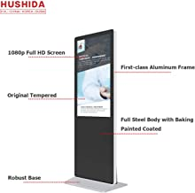 HUSHIDA 42-inch LCD Plane Digital Signage 1080p,Floor Standing Commercial Full HD Display with 10-Point Infrared Touch Screen for Information Query and Display