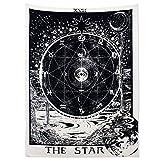 Alumuk Tarot Tapisserie Wandbehang Wandteppich, Mandala Tuch Wandtuch Mittelalterliche Europa Divination Tapestry The Moon The Star The Sun als Dekotuch/Tagesdecke (130 x 150cm, The Star)
