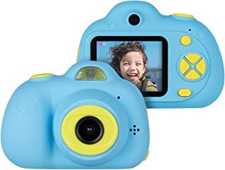 """Kids Cameras Dual Selfie Digital Camera HD Video Recorder Action Camera Camcorder for 4-9 Year Old Kids Birthday Festival Gifts Toys for Children Boys Girls 2.0"""" LCD Screen 4X Digital Zoom (Blue)"""