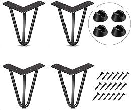 Pied Meuble Scandinave 4pcs Pieds Epingle DIY Pieds pour Table Pied de Chaise avec 20 Vis + 4 Protège Pieds