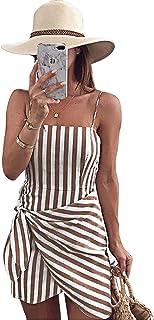UBANT Women Fashion Irregular Hem Tied Stripe Halter Sling Dress