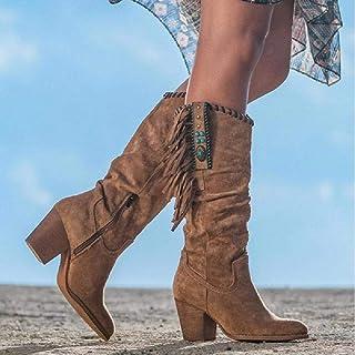 JUNSHANG Bottes Femmes, Bottes frangées épaisses Tube Longue à Talons à Talons Hauts rétro Bottes de Moto Cheville à Chevi...