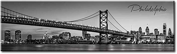 DJSYLIFE- Philadelphia Skyline Wall Art,Black and White Stretched Canvas Wall Art Prints for Bedroom or Office Decoration, Ready to Hang 13.8