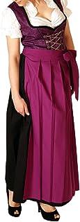 Alpenmärchen 3tlg. Dirndl-Set lang - Trachtenkleid, Bluse, Schürze, Gr. 34-60, mehrere Farben