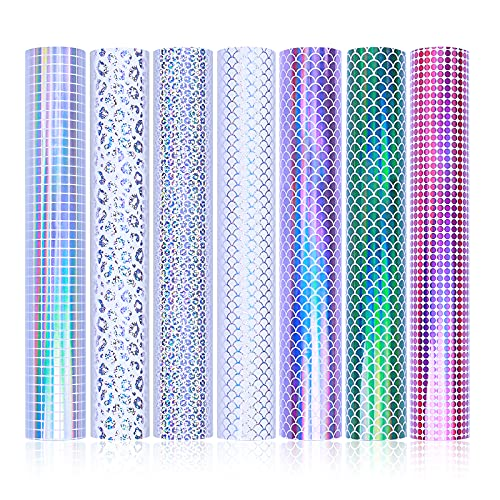 HomeMall Adhesive Vinyl Sheets 12'x12' Holographic Vinyl Permanent for...