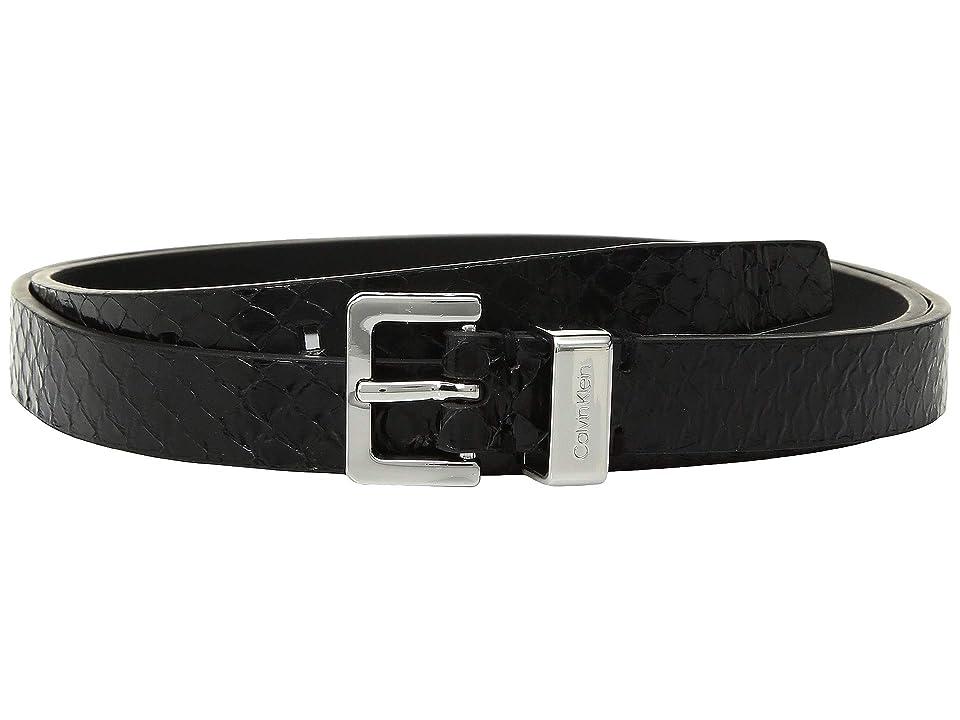 Calvin Klein 20 mm Flat Strap Belt (Black/Black Tab/Brushed Nickel) Women