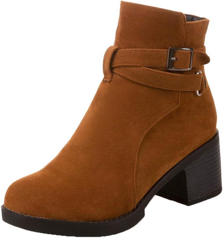 WeiPoot Women's Frosted Low-Top Solid Zipper Kitten-Heels Boots, EGHXH116483