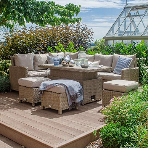 Nova Outdoor Living - Left Hand Ciara Outdoor Rattan Corner Sofa Dining Set with Rising Polywood Table - Half Round Willow Weave