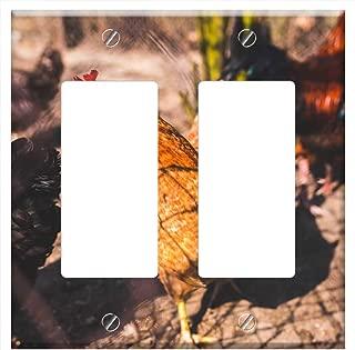 Switch Plate Double Rocker/GFCI - Chicken Chickens Free Range Natural Eco Eko