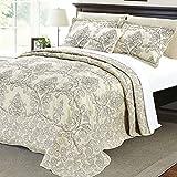 Serenta Damask 4 Piece Bedspread Set, King, Beige