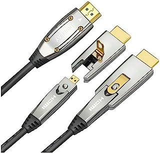 Jeirdus 20 Meter AOC HDMI Glasfaserkabel 18 Gbit/s High Speed 4K60 Hz, mit kleinen Micro  und Standard HDMI Anschlüssen, einfache Rohrleitung.