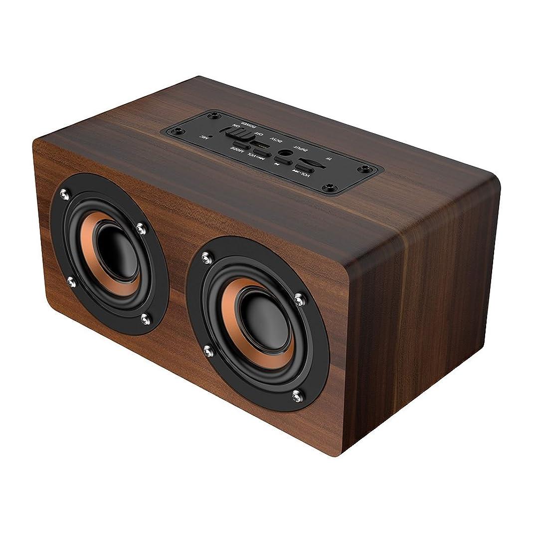 困惑する脇に富ワイヤレススピーカーサブウーファー、52mmスピーカー木製ワイヤレススピーカーサブウーファーFMラジオHiFi音楽時計アラームステレオサブウーファー(ブラウンウッドグレイン)