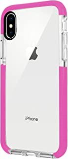 iPhone X Case, iPhone X Anti-Scratch Clear Case, Soft TPU with Transparent Hard Plastic Protective Back Phone Cover, Thin Sleek Mobile Cover for iPhone X 2018, High-Transparent Two-Color case (Pink)