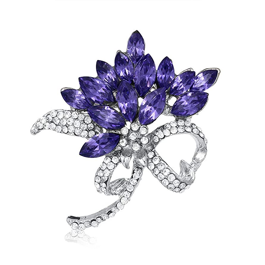 AHDUNCSIOWHG Crystal Brooch Pins Women Blue Purple Flower Broches DIY Bouquet Accessories Brooches Gift for Wedding Bridal