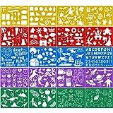 Qpout 20 Piezas Plantillas de Dibujo en Color para niños, Plantillas de Pintura plástica para...