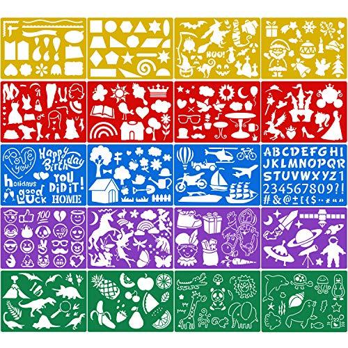 Qpout 20 Pezzi Stencil per Pittura a Colori per Bambini, Plastica Stencil per Pittura per Bambini Compleanno Halloween Natale Dinosauro Forniture Regalo per Bambini Strumento di Pittura prescolare