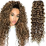 Hetto Remy Wavy Hair Extensions 14 pulgada Clip in Hair Colored Extensions Marrón...