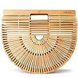 Vintga Bamboo Bags for Women Summer Straw Bags Wooden Beach Purses Basket Handle Handbags (Small)