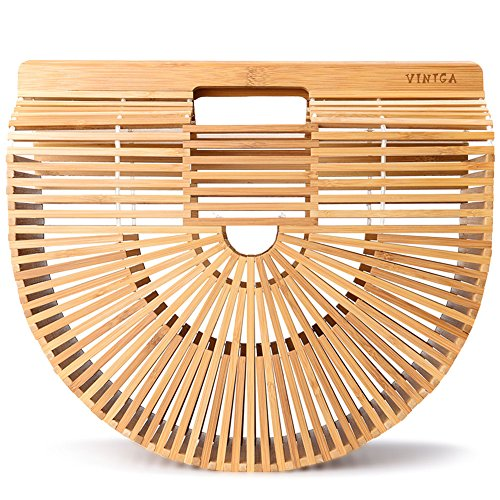 Vintga Bamboo Handbag Handmade Tote Bamboo Purse Straw Beach Bag for Women (Bamboo Large)
