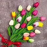 Whaline Künstliche Tulpen, mehrfarbig, 20 Stück, künstliche Tulpen, Blumenstrauß, realistische Haptik, Latex-Material für Zuhause, Garten, Hochzeit, Party, Blumendekoration (10 Farben)