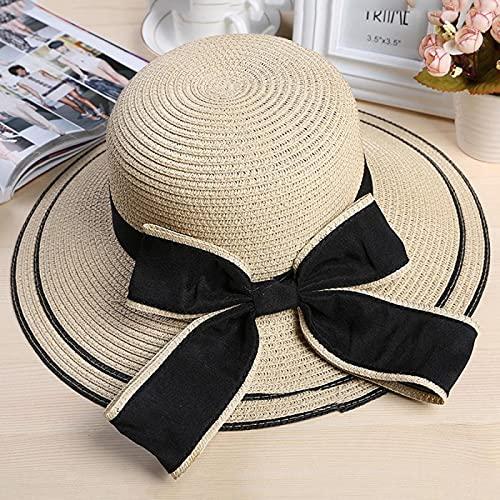 NJJX Sombrero para El Sol con Lazo Negro Grande, Sombreros De Verano para Mujer, Sombrero De Paja Plegable para Playa, Panamá, Visera De ala Ancha para Mujer, Niña 48-52 Cm Beige