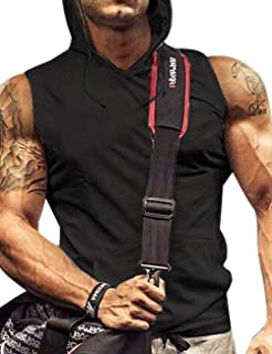 Mens Tank Top with Hood Pocket Gym Hoodie Workout Sleeveless Muscle Shirt