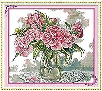 初心者のためのクロスステッチ刺繡キット11CTト クラシカルなスタイル印刷クロスステッチ刺繍セットDIY大人のシンプルな手作り家の装飾( ピンクの花瓶 )