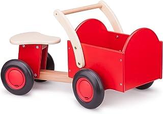New Classic Toys – 11400 – leksaksfordon – träskoter för barn halkfri bil med låda i rött