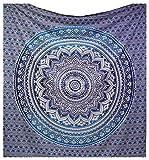 Tapiz Raajsee de regalo de Navidad, azul con degradado y Mándala, tapiz de elefante bohemio, diseño psicodélico para colgar en la pared, tapiz hippie de 220x 240cm