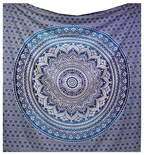 raajsee Indian Tapestry Mandala Ombre Tapestry Hippie Psychedelic Wall Hanging, Elephant Boho Indian Cotton Wall Cloth Oriental (Blue)