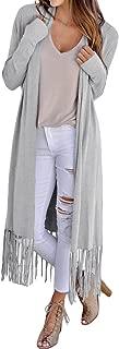 Arainlo Womens Casual Long Sleeve Open Front Cardigans Fringed Hemline Knit Long Sweater Coat