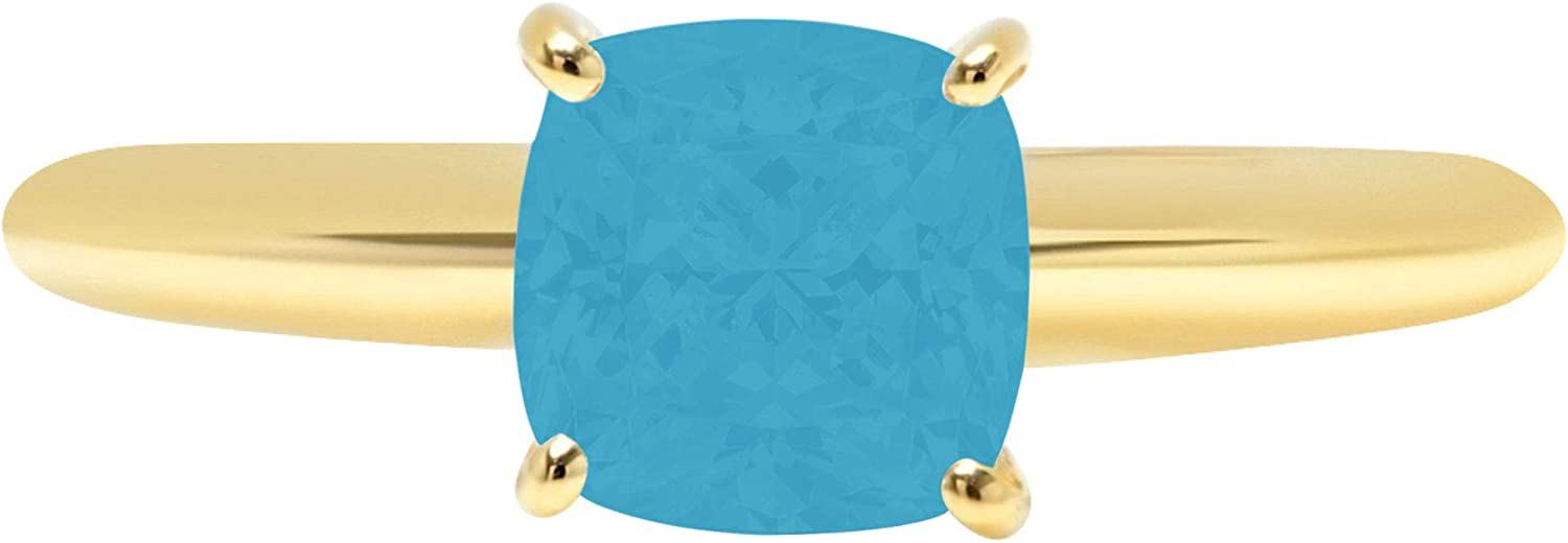 1.4ct Brilliant Cushion Cut Solitaire Flawless Simulated Cubic Zirconia Blue Turquoise Ideal 4-Prong Engagement Wedding Bridal Promise Anniversary Designer Ring Solid 14k Yellow Gold for Women