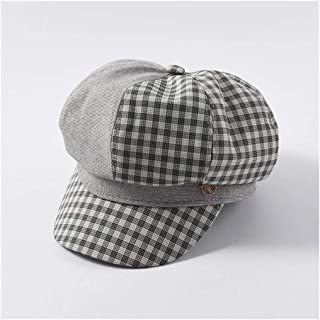 QinMei Zhou Plaid Octagonal hat Painter hat Female Fashion Color Matching Cap Japanese Wild Newspaper Beanie (Color : Grey)
