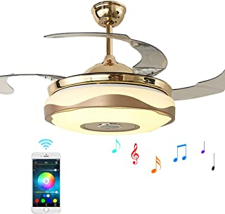 42 inch Ceiling Fan Light with Bluetooth Speaker and Remote Control, Modern 3-color Dimming Chandelier Mute Ceiling Fans with Lights fit for Bedroom Dining/Living Room (42 inch-A)