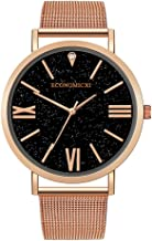 ساعة يد انيمالست انيقة، ساعة ريمانلي بحزام شبكي من الفولاذ المقاوم للصدأ بلون سماوي ونجوم على شكل روماني للرجال كوارتز رسمية بتصميم رياضي كاجوال للرجال
