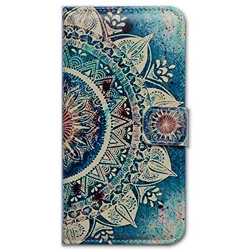 Bfun Packing Bcov Green Circular Mandala Card Slot Wallet Leather Cover Case for iPhone 5C