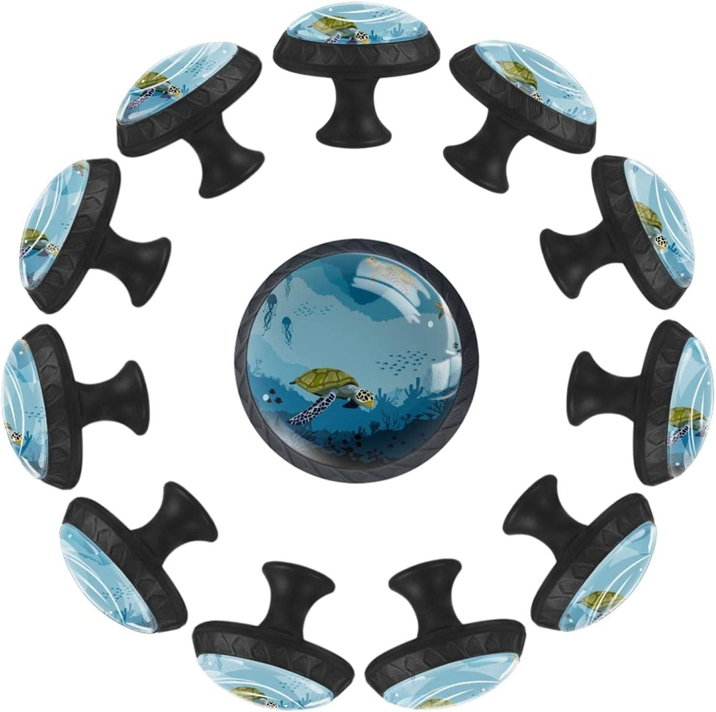 12 Pieces Turtle Underwater Blue Nippon regular agency Knobs Drawers for Dresser Glass service