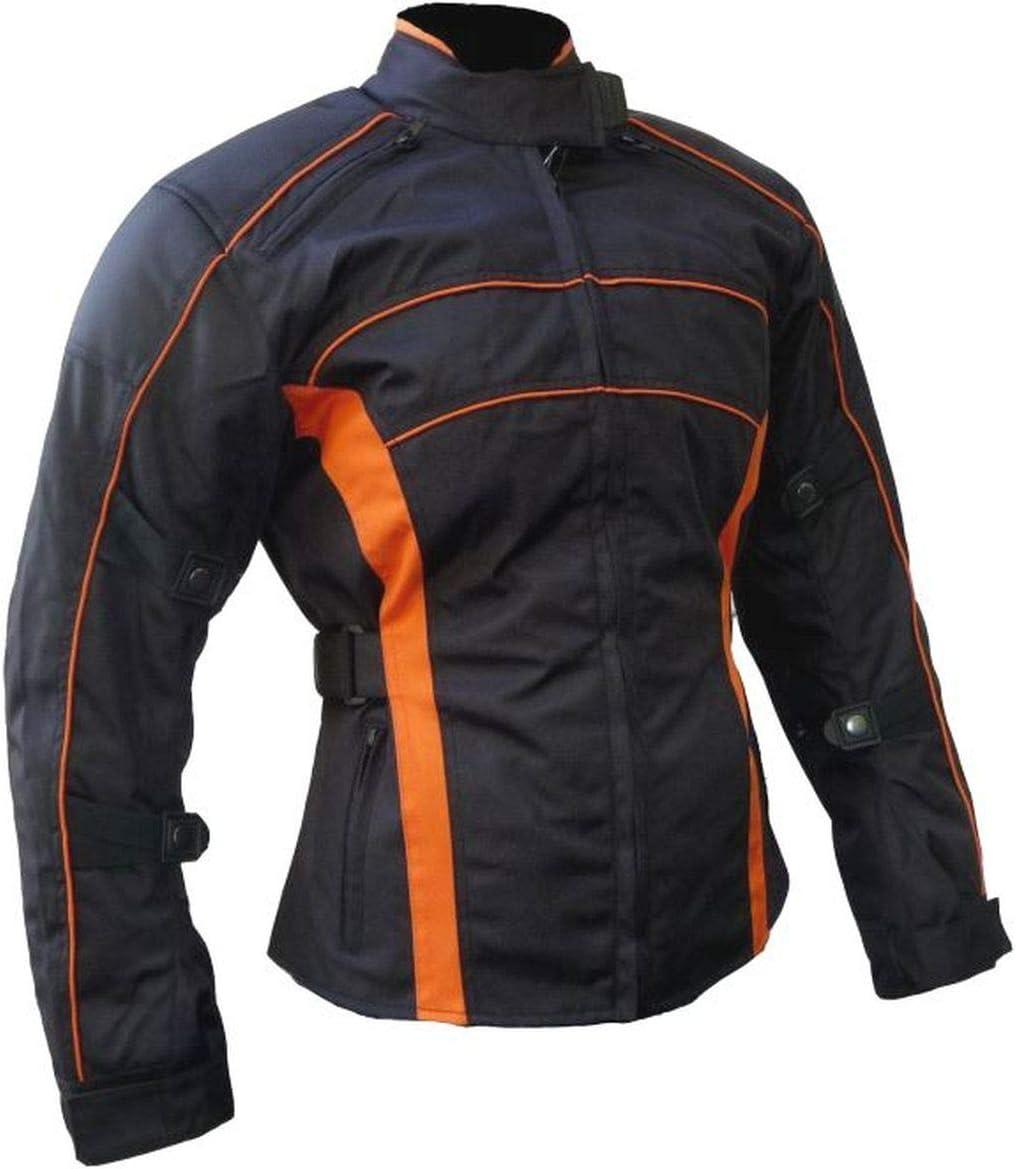 Heyberry Damen Motorrad Jacke Motorradjacke Schwarz Orange Gr Xl Auto
