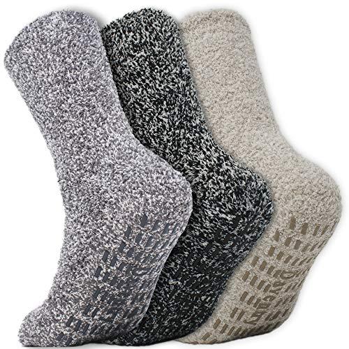 Daventry Ultra Thick Hospital Socks, Non-Skid Fuzzy Slipper Socks With Grips Men & Women - Multicolored - Medium