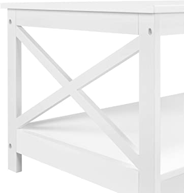 Yaheetech Contemporary X-Design Cocktail Coffee Table with Storage Shelf, 2-Tier Center Table for Living Room Office, Sturdy