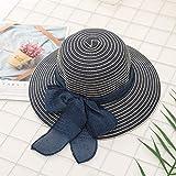 YUTRD ZCJUX Beach Alquiler de Moda for Mujer de los Sombreros de Sun del Bowknot Visera Caps Cortina Hecha a Mano DIY Verano del Sombrero de Paja Informal (Color : A)