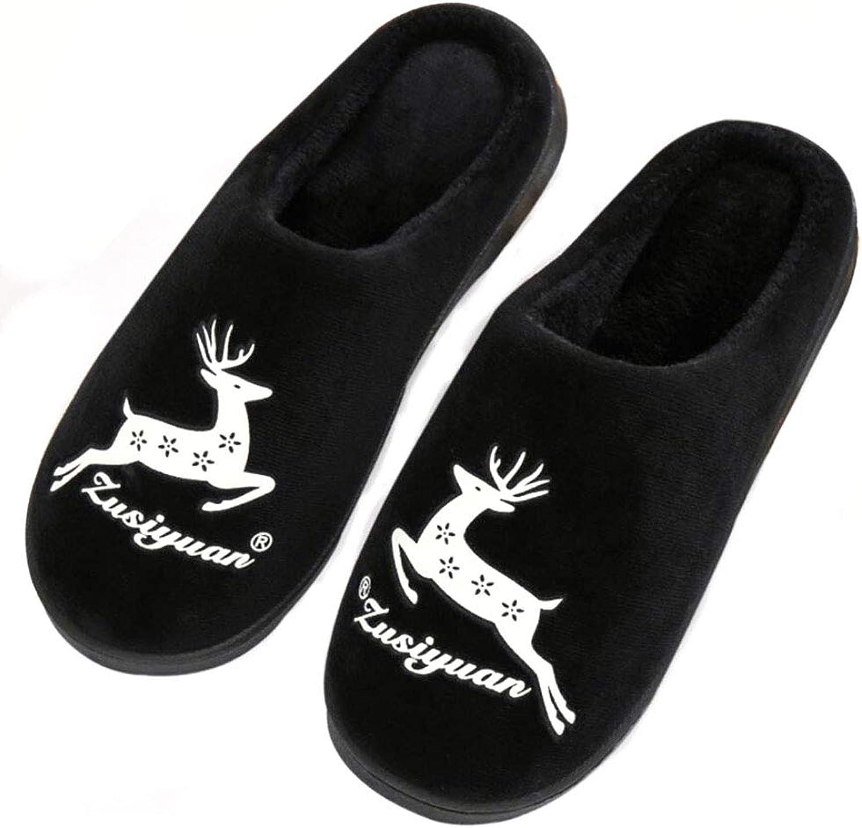 Slippers Winter Home Plush Cotton Warm shoes Indoor Anti-Slip shoes for Women Men Couple,Black,7