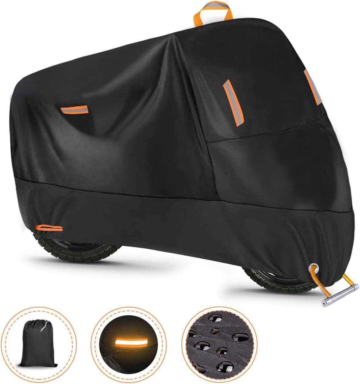 Ergocar Funda para Moto Impermeable Cubierta de la Motocicleta Resistente al Viento 300D Cubierta UV Protectora de Poliéster, XXXL (104.3