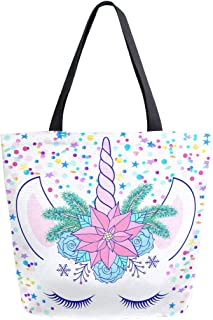 Naanle Floral Unicorn Canvas Tote Bag Large Women Casual Shoulder Bag Handbag, Floral Unicorn Reusable Multipurpose Heavy Duty Shopping Grocery Cotton Bag for Outdoors.