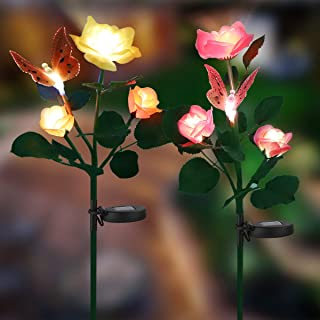 wogree Outdoor Solar Garden Stake Lights, Solar Powered Lights with 6 Rose Flowers,2 Butterfly,Decorative LED Stake Lights Solar Powered for Patio,Yard Decoration
