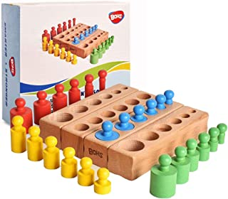 BOHS 6 Knobs Miniature Montessori Knobbed Cylinder - 6.7 Inches - Colorful Wooden Early Home School Toy - 4pcs Set- Ages ...