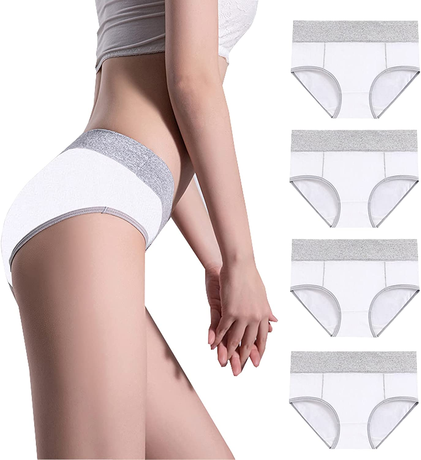 4PC At the price of surprise Womens Underwear Full Coverage Briefs Soft Indianapolis Mall Cotton